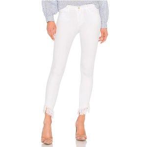 FRAME White Le High Skinny Jean with Fray Hem